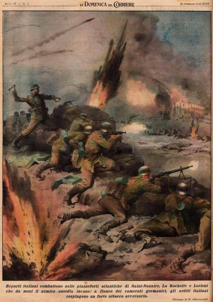 Итальянские подразделения вместе со своими немецкими товарищами в течении нескольких месяцев держат оборону в укреплениях Атлантического вала на севере Франции - R. Albertarelli