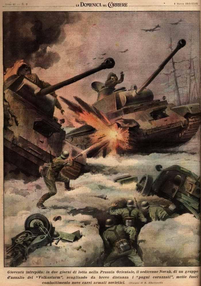 Шестнадцатилетний подросток из состава фольксштурма в течении двух дней боев в Восточной Пруссии успел уничтожить девять советских танков - R. Albertarelli
