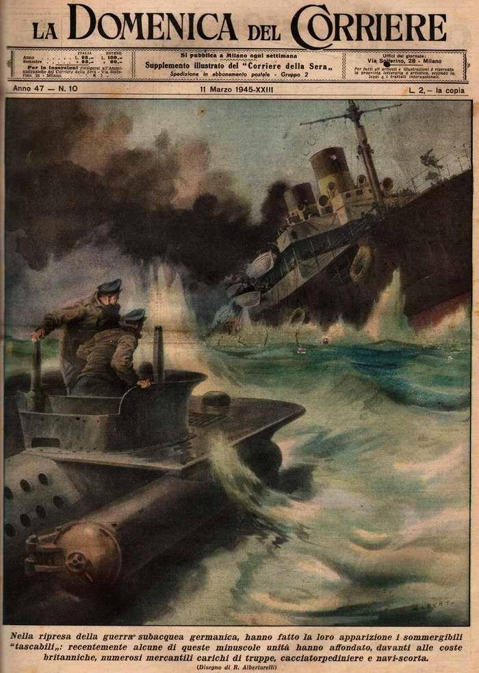 Со второй половины войны немецкий подводный флот стал делать все большую ставку на использование сверхмалых подводных лодок - R. Albertarelli