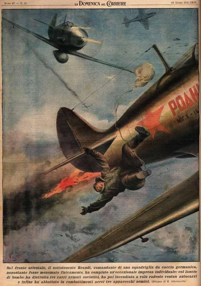 На восточном фронте лейтенант Брандт, командир эскадрильи истребителей немецких люфтваффе, за время боевого вылета прицельным бомбометанием уничтожил три советских танка - R. Albertarelli