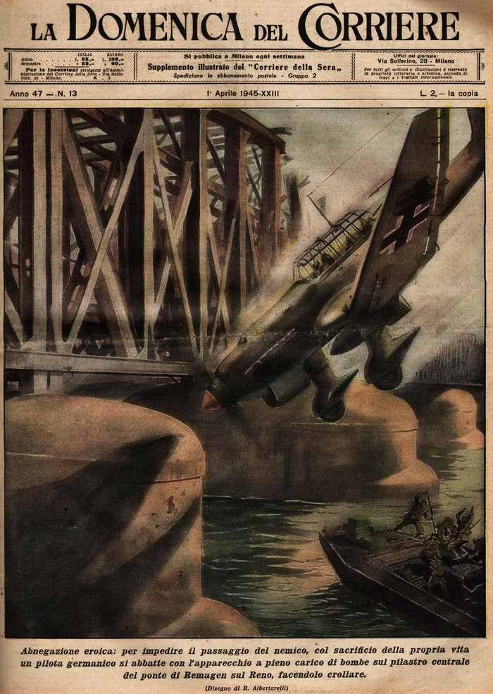 Пример героического самопожертвования: немецкий летчик самолета Ju-87 с полной бомбовой нагрузкой врезался в центральную опору моста через реку Рейн - R. Albertarelli