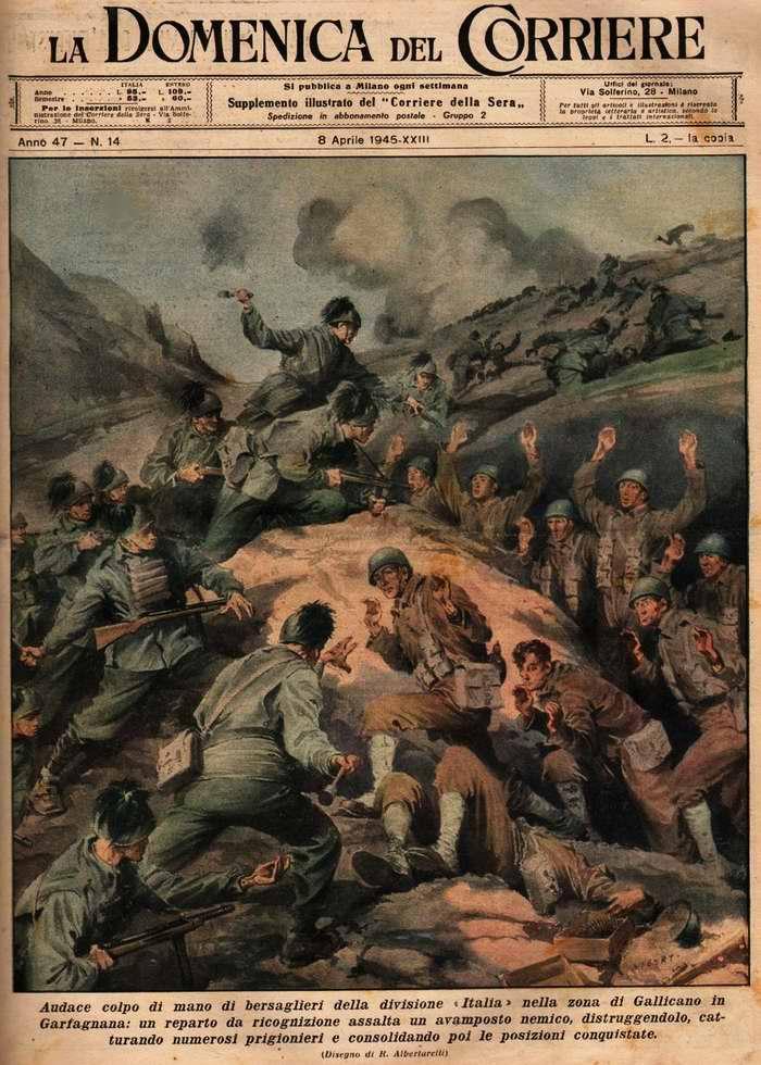 Солдаты-берсальеры, которые предпочли оставаться верными исполнению своего воинского долга, принимаются нападать на вражеские форпосты и вести с противником позиционные бои - R. Albertarelli