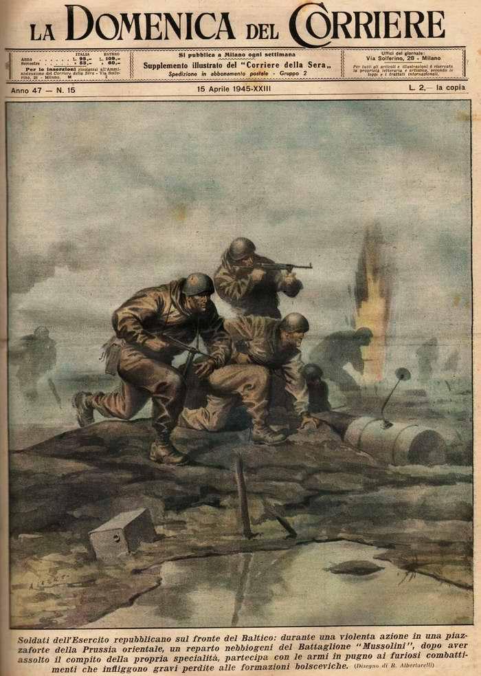 Солдаты итальянской республиканской армии из состава батальона Муссолини участвуют в боевых действиях  в Восточной Пруссии - R. Albertarelli