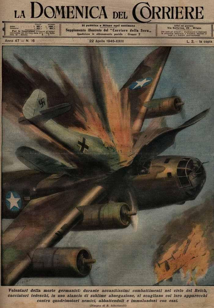 Во время кровопролитных боев в небе Рейха многие немецкие летчики-истребители в порыве возвышенного самоотречения то и дело принимаются таранить вражеские бомбардировщики, уничтожая врагов ценой собственных жизней - R. Albertarelli