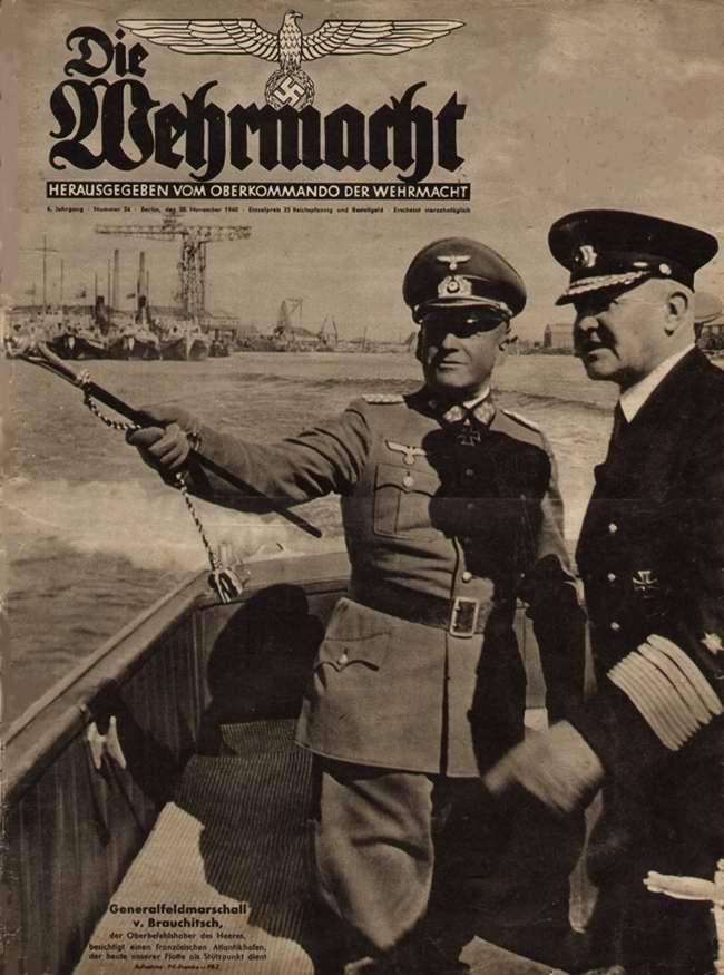 Генерал-фельдмаршал фон Браухич инспектирует немецкие военно-морские силы в одной из французских гаваней на атлантическом побережье