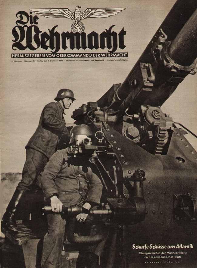 Тяжелое орудие немецкой береговой артиллерии ведет огонь по территории Великобритании со стороны французского побережья