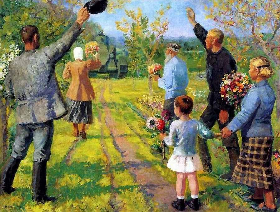 Колхозники приветствуют танкистов во время маневров - Екатерина Зернова (1937 год)