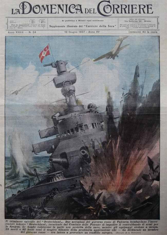 Нападение на немецкий крейсер Deutschland самолетов республиканской Испании - La Domenica del Corriere