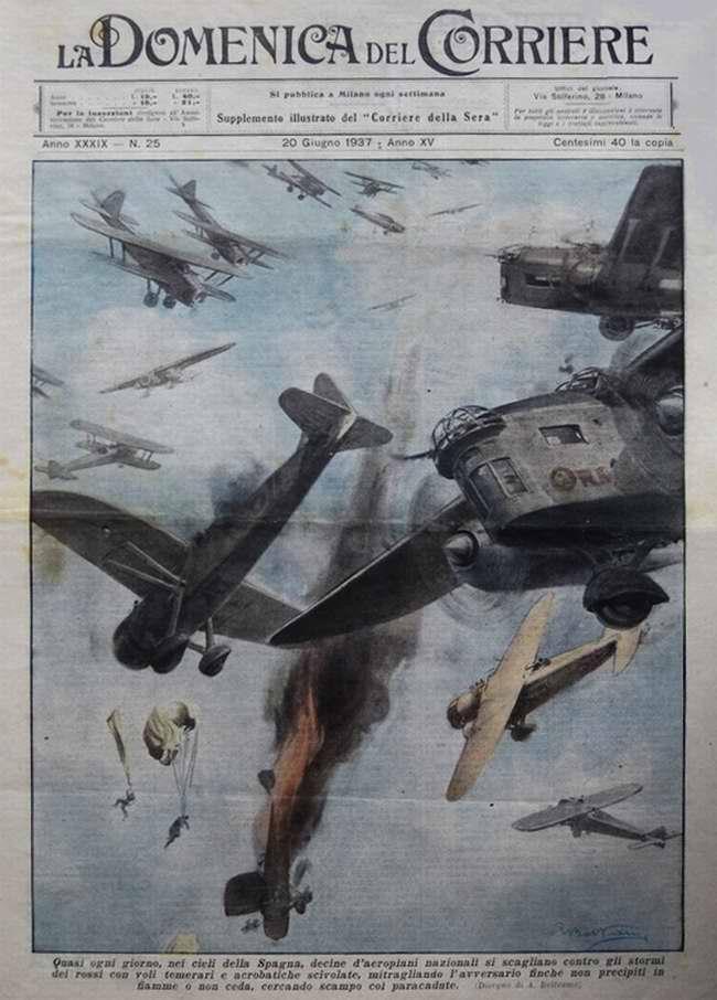 Каждый день в небе Испании десятки самолетов сил националистов вступают в воздушные бои с истребителями красных республиканцев - La Domenica del Corriere