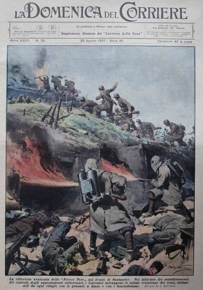 Победоносное наступление итальянских легионеров под городом Сантадер (север Испании) - La Domenica del Corriere