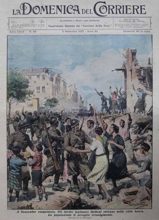 Итальянские легионеры входят в город Сантадер и местное население торжественно встречает их - La Domenica del Corriere
