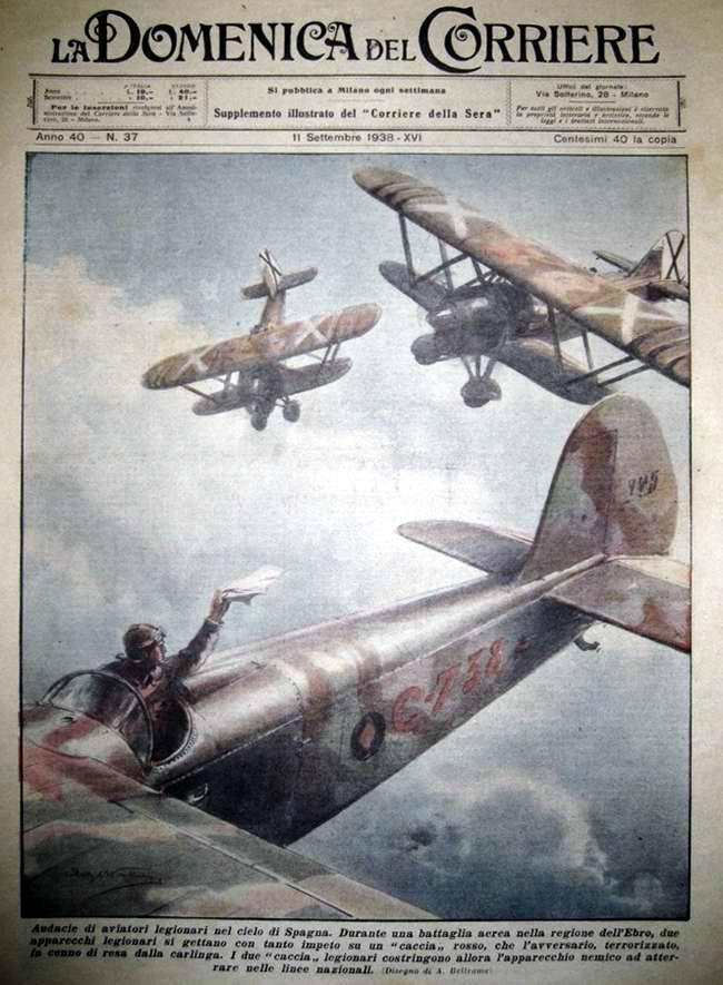 Отважные итальянские летчики в небе над Испанией - La Domenica del Corriere