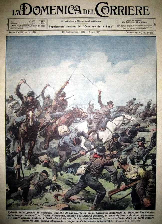 Эпизод кавалерийской атаки в ходе гражданской войны в Испании - La Domenica del Corriere