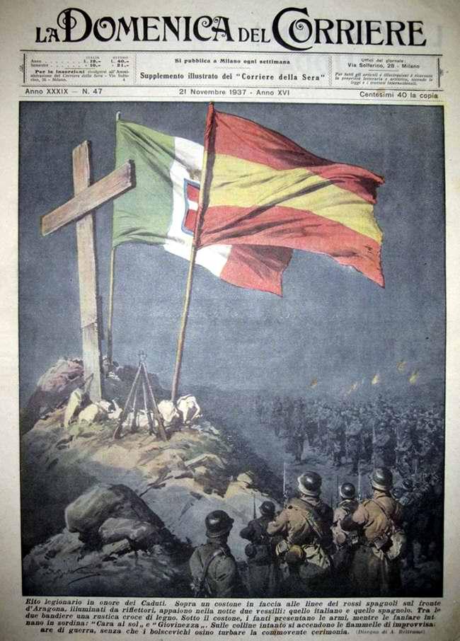 Торжественный обряд испанских и итальянских легионеров в честь генерала Франко  - La Domenica del Corriere