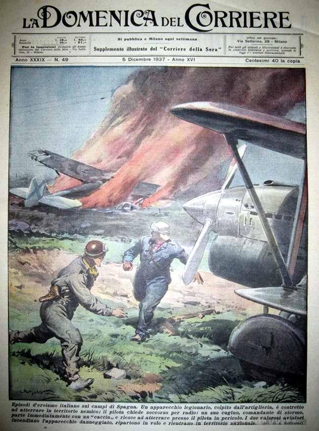 Эпизод героизма итальянских летчиков в небе Испании - La Domenica del Corriere