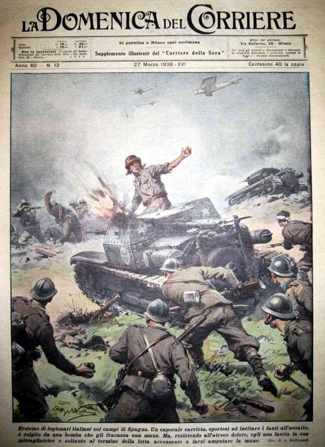 Героизм итальянских легионеров в ходе боев в Испании - La Domenica del Corriere