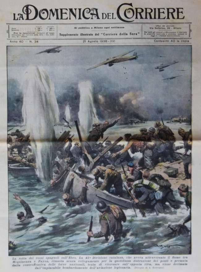 Болезненный исход населения испанской Астурии в страхе перед нападениями большевиков-республиканцев - La Domenica del Corriere