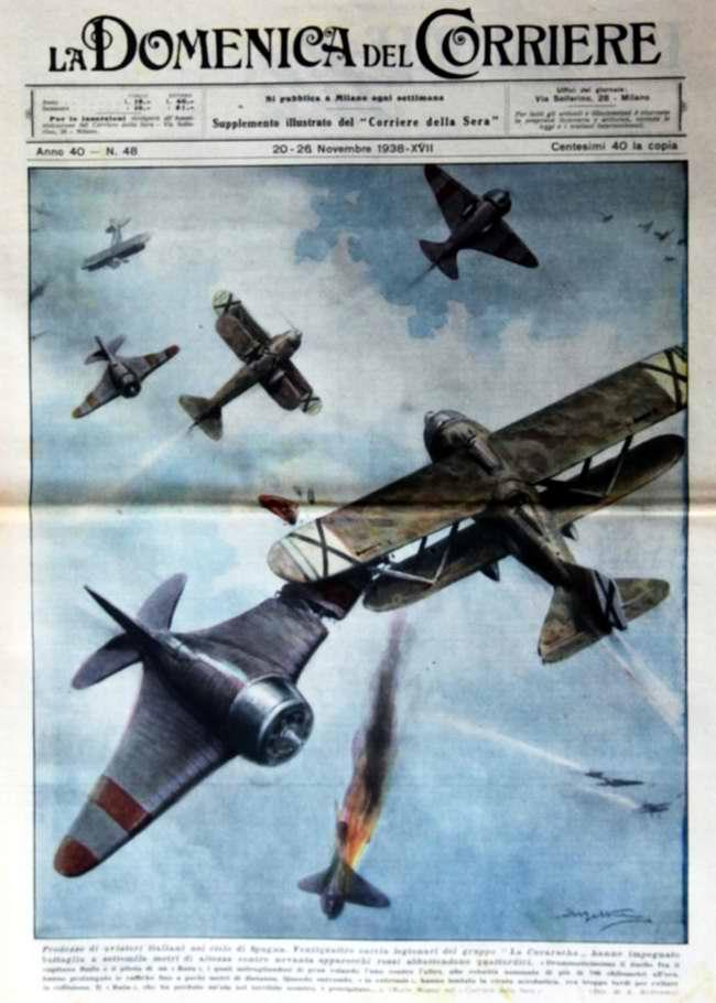 Подвиги итальянских военных летчиков в небе Испании  - La Domenica del Corriere