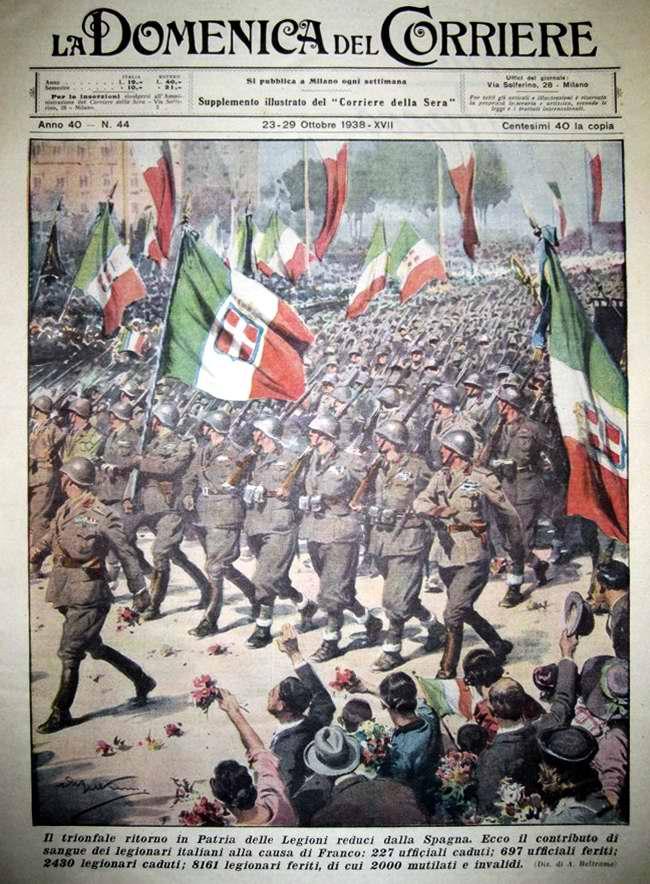 Триумфальное возвращение на свою Родину из Испании подразделений итальянских легионеров - La Domenica del Corriere