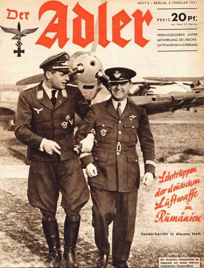 Учебная группа немецких люфтваффе в Румынии: германский летчик беседует с румынским
