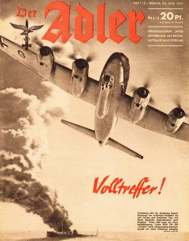 Немецкий тяжелый бомбардировщик Фокке-Вульф 200 после уничтожения британского транспортного судна в Атлантическом океане