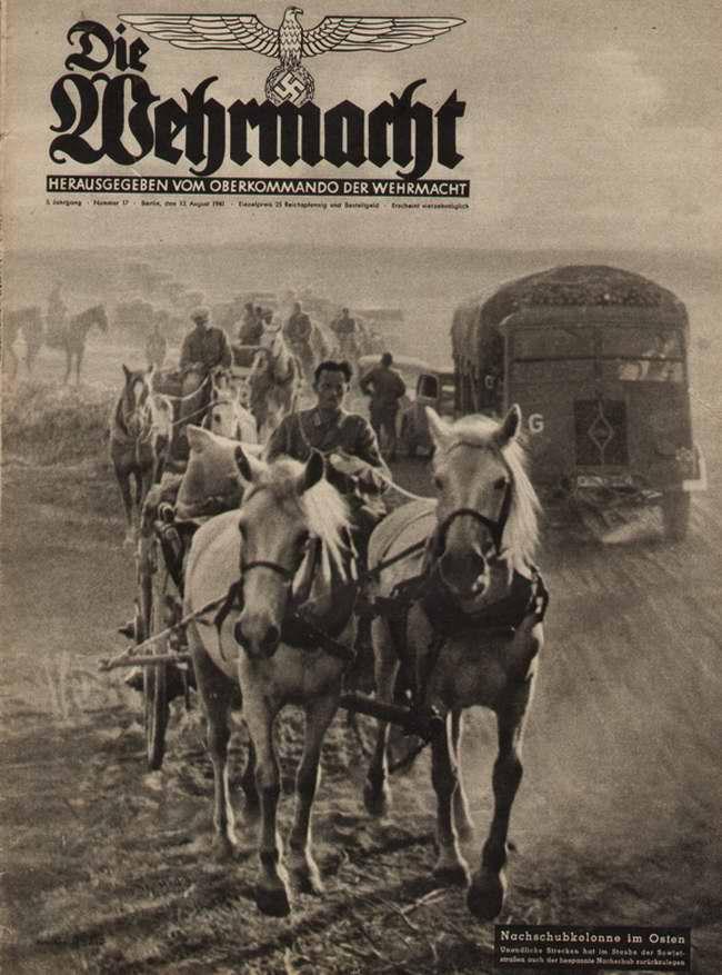Немецкая обозная колонна движется на Восток