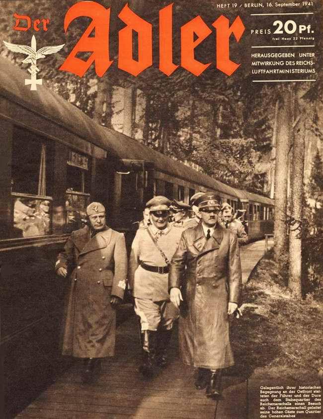 Гитлер в сопровождении Геринга, Муссолини и офицеров Генштаба в ходе своей инспекционной поездки на Восточный фронт