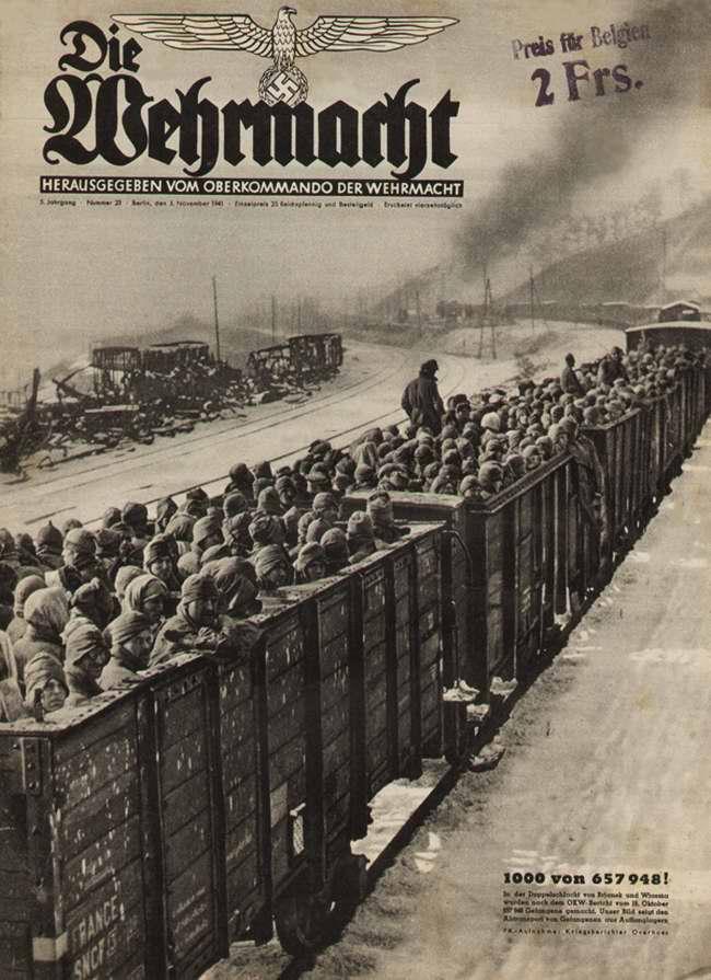 Перевозка советских военнопленных, захваченных в ходе боев под Вязьмой в октябре 1941 года