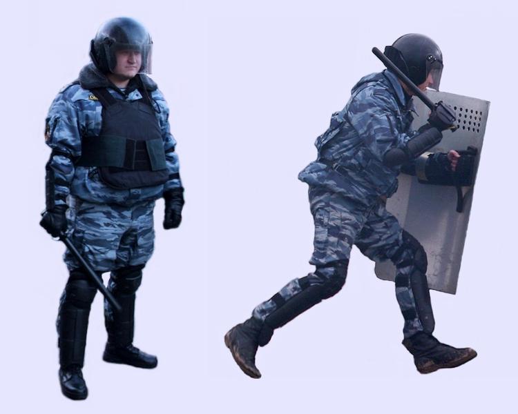 Внешний вид типичных бойцов ОМОН и бойцов подразделений по борьбе с массовыми беспорядками