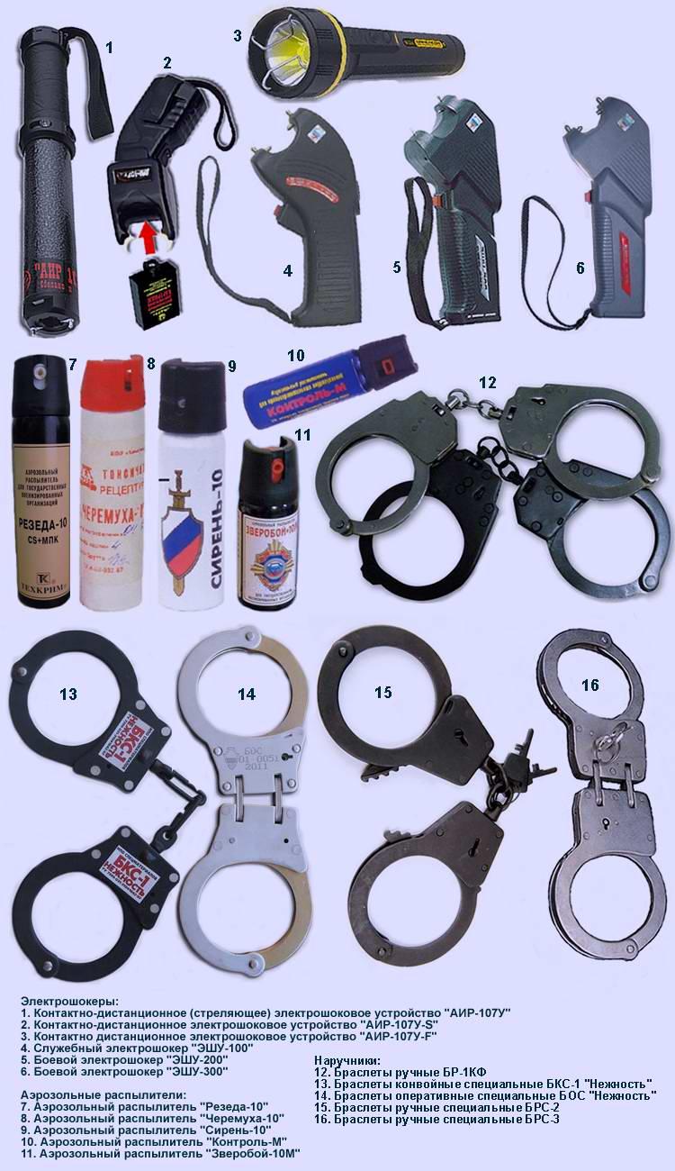 Служебные и боевые электрошоковые устройства, аэрозольные распылители и наручники