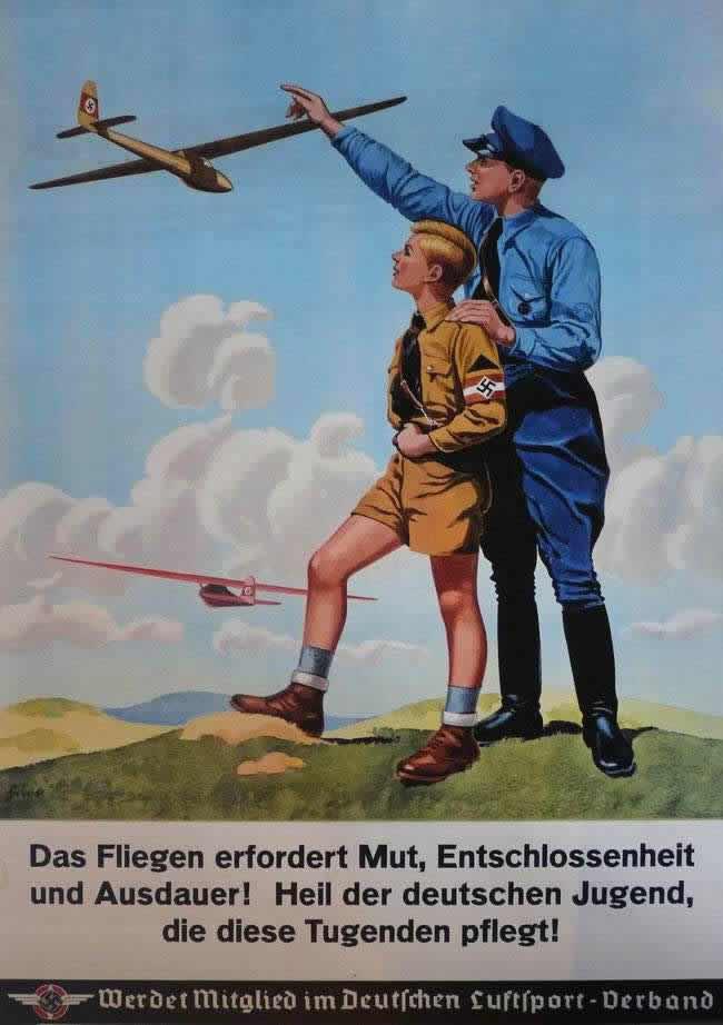 Полеты требуют смелости, решительности и настойчивости! Да здравствует немецкая молодежь, которая развивает в себе эти качества (1938 год)