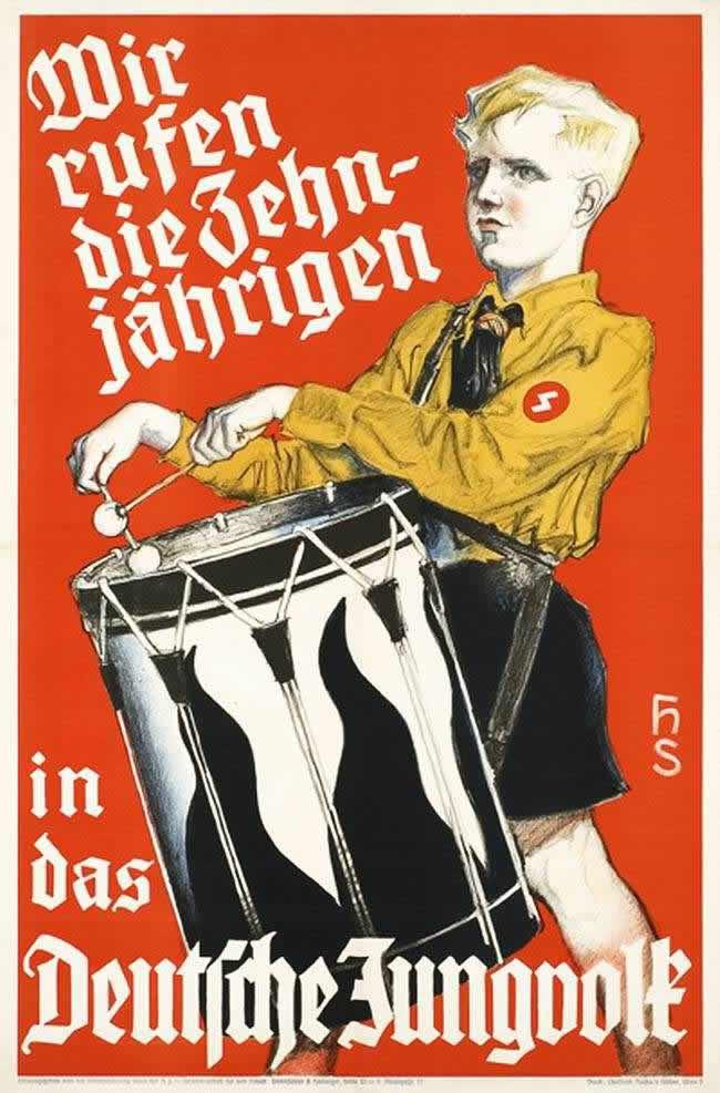 Мы созываем всех мальчиков от 10-ти лет в немецкий Юнгфольк (младшую возрастную группу гитлерюгенда). Австрийский плакат  - 1938 год