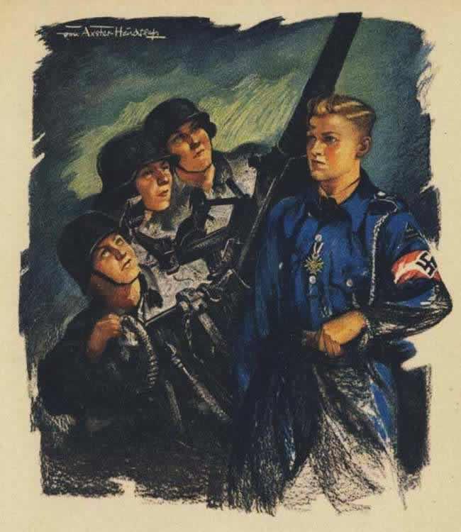 Юные зенитчики из числа членов гитлерюгенда (изображение с открытки) - 1944 год