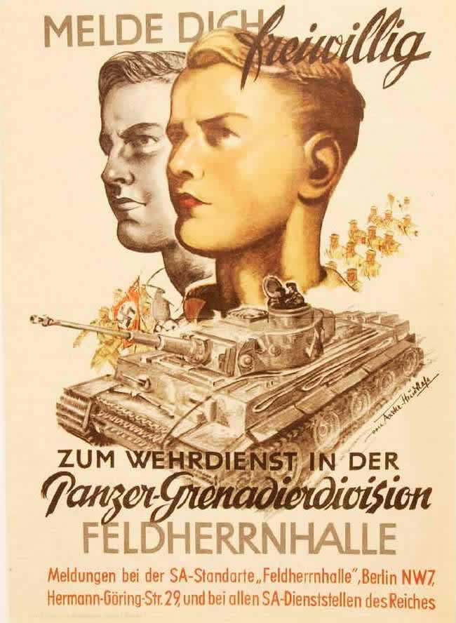 Запишитесь добровольцами на военную службу в танковую гренадерскую дивизию - Feldherrnhalle - (1944 год)