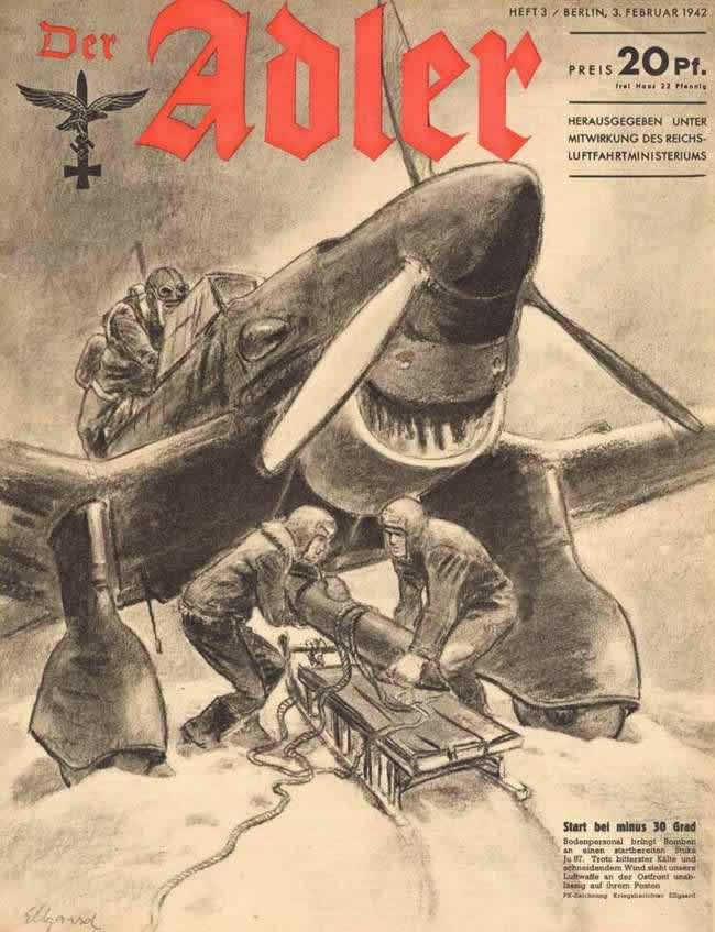Процесс поготовки бомбардировщика Ju-87 к боевому вылету в условиях 30-градусных морозов