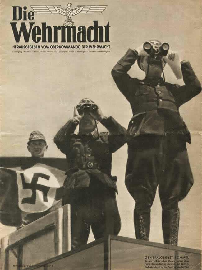 Генерал Роммель со своими подчиненными ведет наблюдение за окружающей местностью на одном из участков фронта в Северной Африке