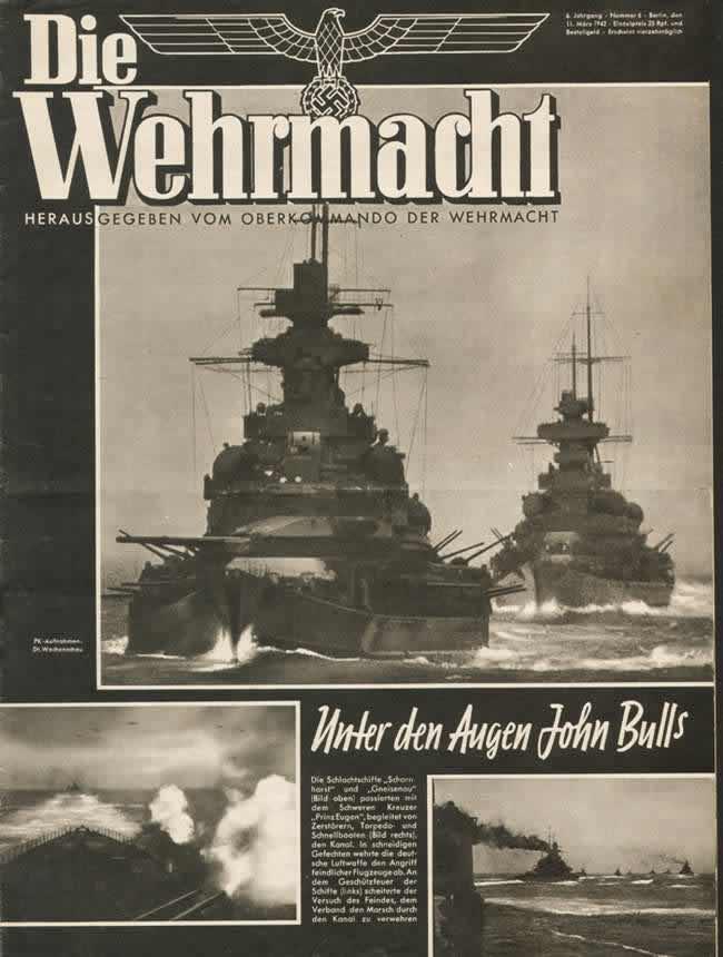 Под носом у англичан: Немецкие линкоры Scharnhorst и Gneisenau в сопровождении тяжелого крейсера Prinz Eugen и других кораблей совершили дерзкий прорыв из Северной Атлантики к немецкому побережью через пролив Ла-Манш