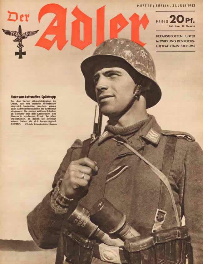 Солдат-разведчик наземных частей люфтваффе в боевой экипировке на Восточном фронте