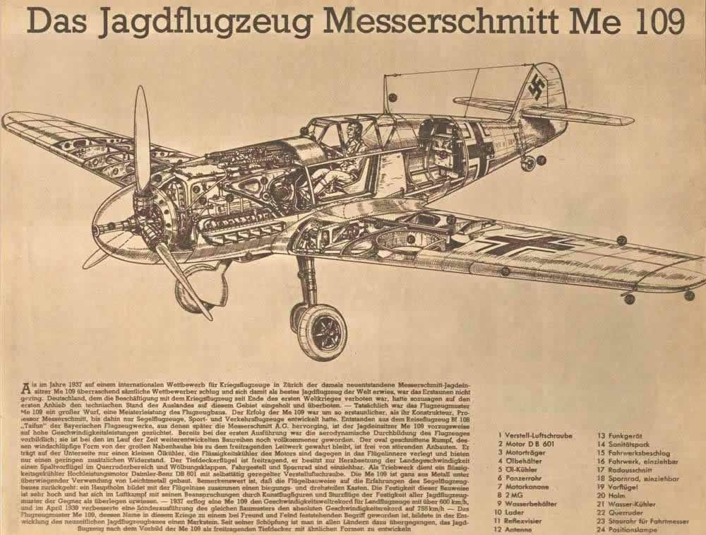 Немецкий истребитель Мессершмитт 109 в разрезе