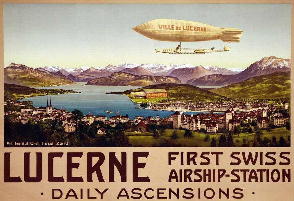 Люцерн - первая швейцарская станция воздушных судов (Luzern, first swiss airship-station), Швейцария, 1900 год