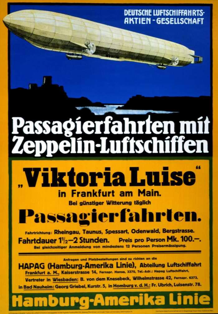 Пассажирские перевозки на дирижаблях - компания DELAG (Deutsche Luftschiffahrts-Aktiengesellschaft), Германия, 1912 год