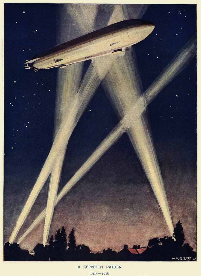 Боевой цеппелин в действии (A Zeppelin Raider), 1916 год