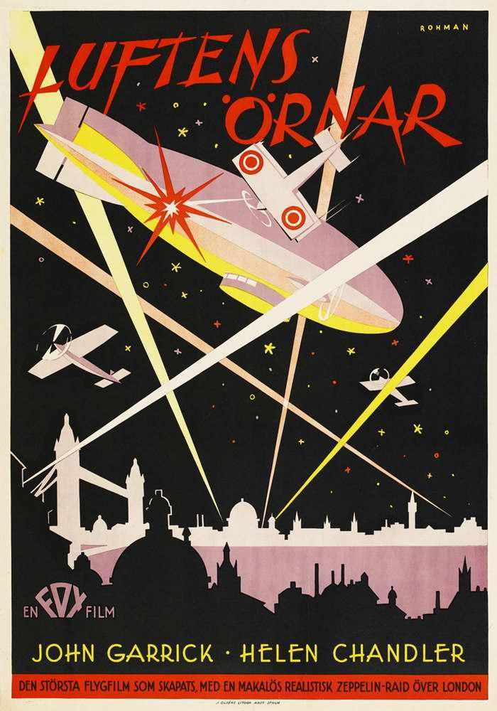 Воздушные асы  (Luftens ornar) - рекламный плакат фильма, Швеция, 1929