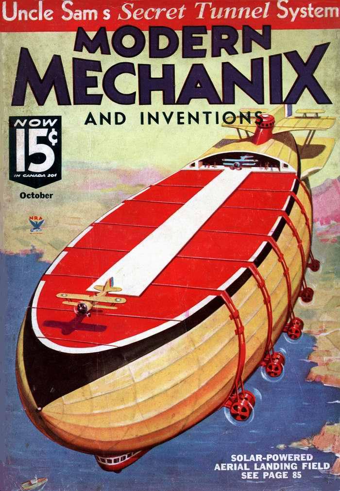 Дирижабль - воздушный аэродром (обложка журнала Modern Mechanix) США, 1934 год