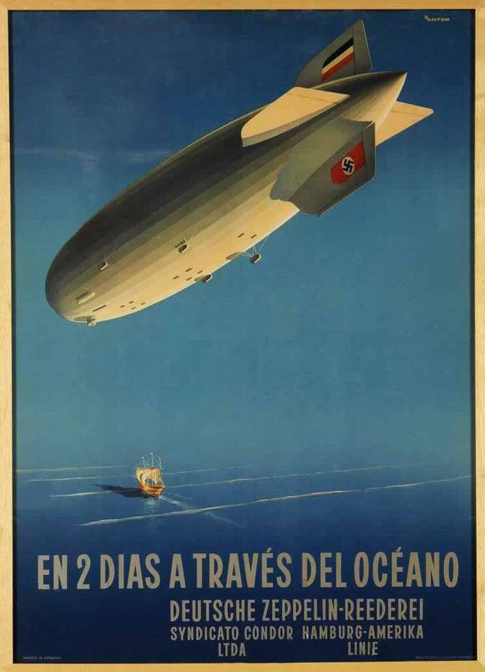 Путешествие через океан за два дня (в Северную Америку) - компания Deutsche Zeppelin Reederei, Германия, 1936 год
