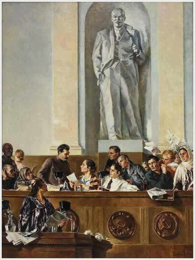 Вождь, учитель и друг (И. В. Сталин в Президиуме II съезда колхозников-ударников в феврале 1935 года) - Григорий Шегаль (1937 год)