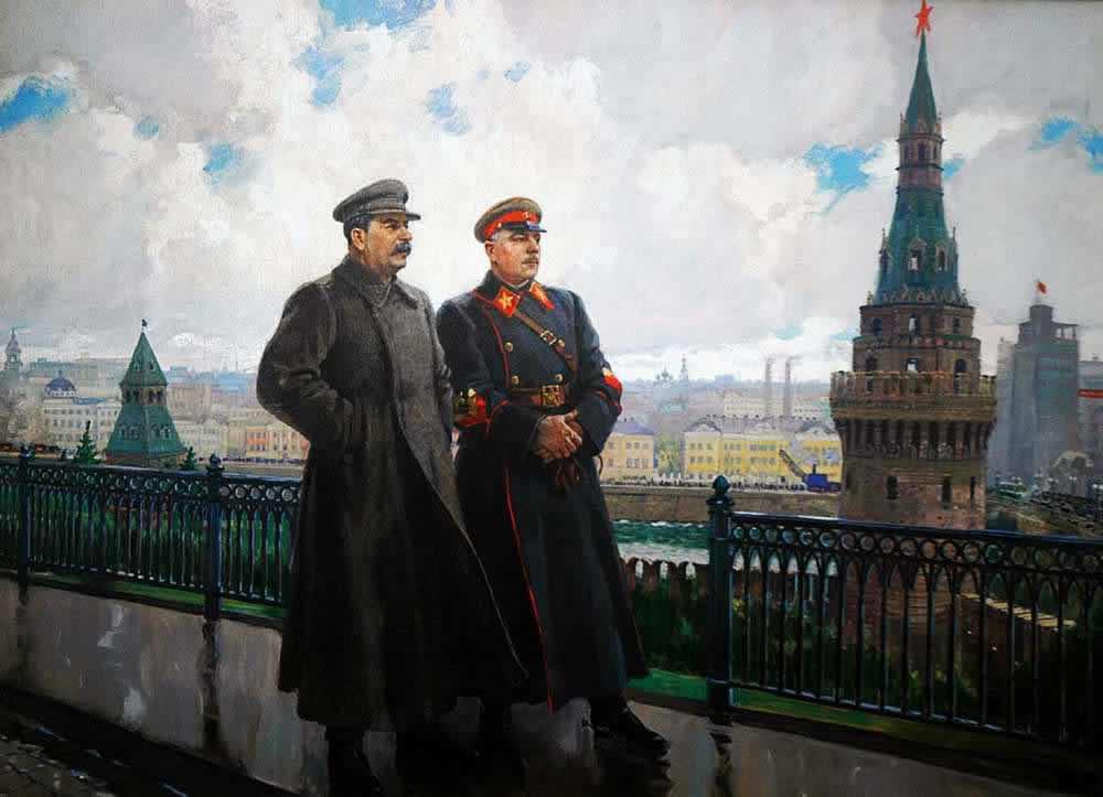 Иосиф Виссарионович Сталин и Климент Ефремович Ворошилов в Кремле - Александр Герасимов (1938 год)