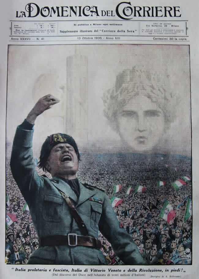 Муссолини выступает перед народом с речью о необходимости объединиться всем вместе под фашистскими лозунгами (1935 год)