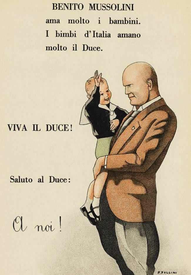 Муссолини очень любит детей, а дети очень любят вождя всей Италии. Да здравствует дуче! (иллюстрация из учебника для первоклассников) - 1935 год