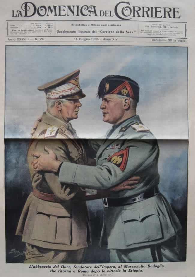 Муссолини приветствует итальянского маршала Бадольо после достижения победы в войне с Эфиопией (1936 год)